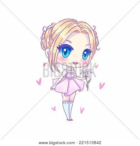 Cute vector illustration. Kawaii Anime girl. Big eyes. Use for postcards, print on clothes or other things. Banner decorations. Happy valentine s day