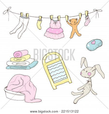 Set of washed baby clothes in vector