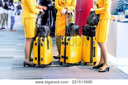 Row of stewardess  legs with luggage trolley at departure gate - Flight attendants standing by international airport - Airline hostesses holding bags and personal baggage before departure