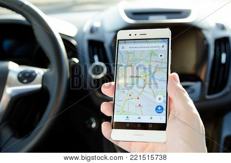 WROCLAW, POLAND - DEC 13, 2017: Google Maps is popular navigation mobile app in Poland