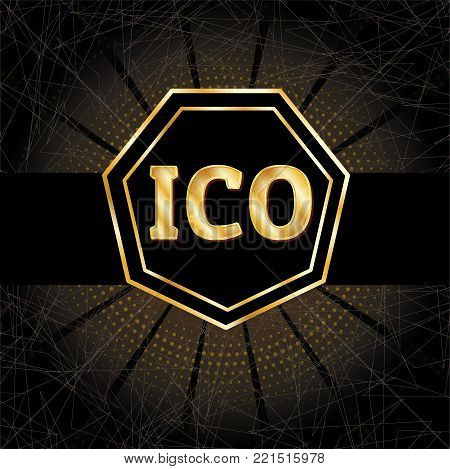 ICO and Bitcoin conceptual design and template. Initial coin offering concept vector illustration of golden letters ICO and Bitcoin set