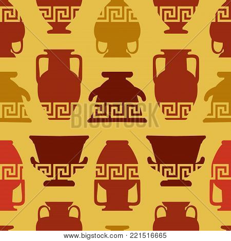Greek vases with meander ornament. Seamless pattern. Ethnic art