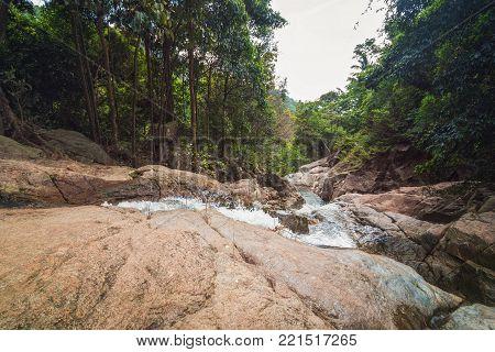 Na Muang Waterfall in the Jungle on Koh Samui Island, Surat Thani Province, Thailand