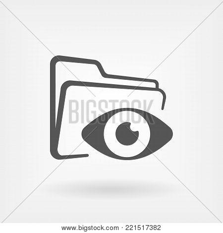 opened folder with eye icon. Hidden folder. Hide or unhide function sign