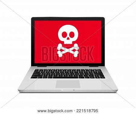 Computer laptop virus fraud or spam notification. Internet online virus alert icon.