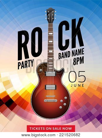 Rock festival flyer event design template. Guitar vector poster music band.
