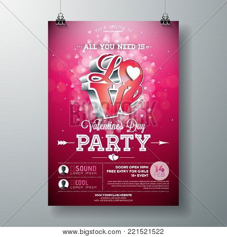 Vector Valentines Day Party Flyer Design with Typography and Hearth on Red Background.. Celebration Poster Template for Invitation or Greeting Card