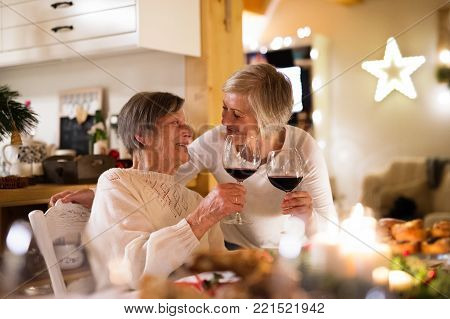 Beautiful big family sitting at the table celebrating Christmas together at home. Senior woman and her mother clinking with glasses of red wine.