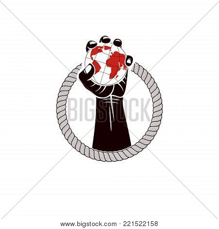 Muscular clenched fist of strong man surrounded by rope and holds Earth globe, vector illustration. Global authority as the means of political and social influence