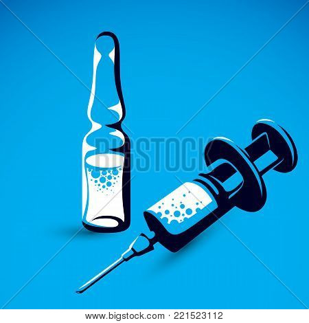 Vector graphic illustration of plastic disposable syringe for medical injections and ampoule with medicine. Antivirus vaccination concept.