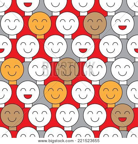 Banner fools day. Smiling crowd. Seamless pattern with spectators, supporters, voters, citizens. Background with smileys. Vector illustration poster