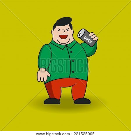 Fat man with can of beer. Cartoon character with obesity. Vector