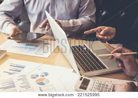 Teamwork of business colleagues, consultation and conference new strategy plan business and market growth on financial document graph report, professional occupation, Partner meetings and briefing.