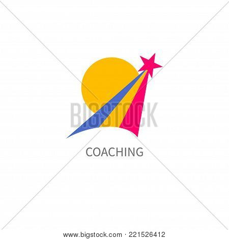 Logo, icon coaching, coach isolated on white background. Star, comet flying up. Vector illustration
