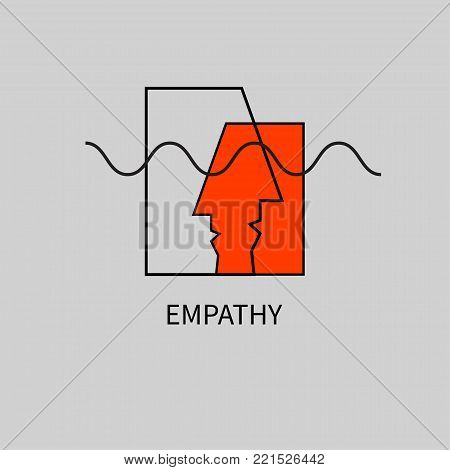 Icon empathy. Logo psychologist, psychotherapist, psychotherapy. Two abstract human profile. Vector