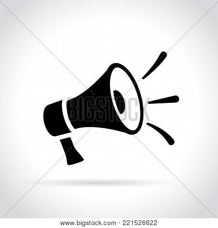 Illustration of loud speaker icon on white background