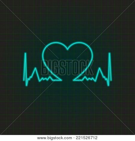 Neon cardiogram with heart. Heart rhythm. Vector illustration.