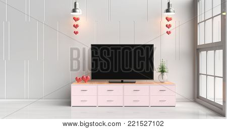 Smart tv on pink tv stand  in white living room decorated with red hearts,lamp, wood pink tv stand, window, tree in glass vase, Rooms of Love on Valentine`s Day. Background and interior. 3D render.