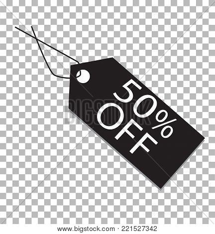 50 percent tag on transparent. 50 percent tag icon. 50 percent price tag sign.
