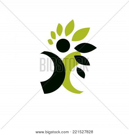 Vector illustration of happy abstract human with reaching up. Go green idea creative logo. Ecotourism conceptual icon. Downshifting symbol.