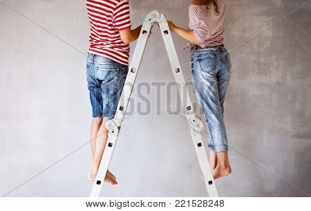 Unrecognizable young couple standing on ladder painting walls in their new house. Home makeover and renovation concept. Rear view.