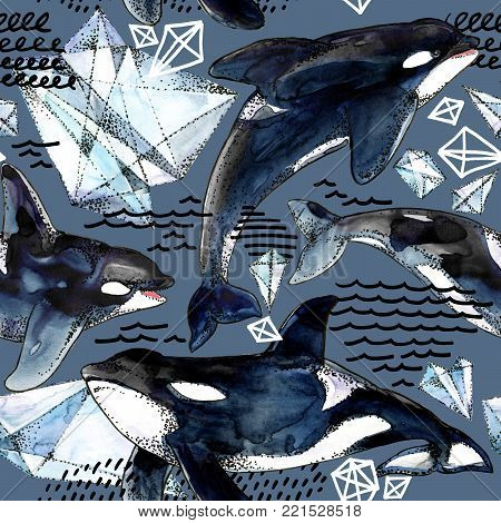 killer whale seamless pattern. watercolor arctic ice and ocean background