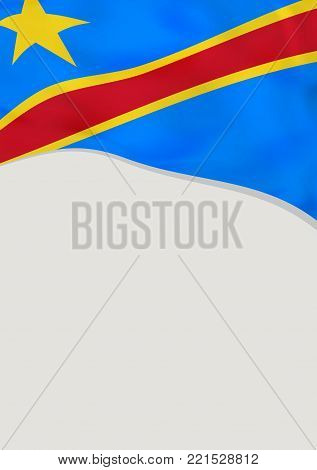 Leaflet design with flag of DR Congo. Vector template.