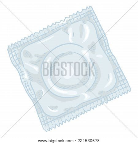 Vector Set Of Cartoon Color Condoms. Contraceptive Collection.