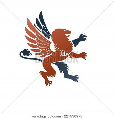 Winged Gryphon, mythical animal ancient emblem element. Heraldic vector design element. Retro style label, heraldry logo.