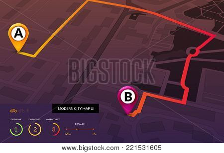 City map navigation infographic. Modern vector interface of street map. Gps route concept