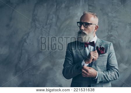Portrait Of Proud Respected Confident Handsome Masculine Virile Vintage Grey-haired Sharp Dressed In