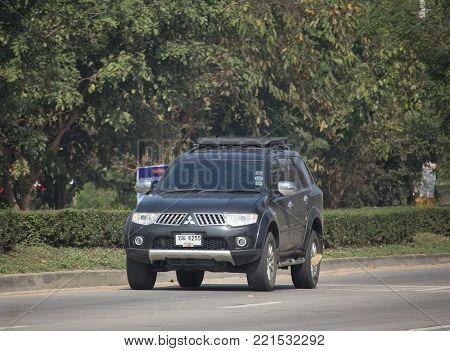 CHIANG MAI, THAILAND -JANUARY 7 2018:  Private Mitsubishi Pajero Suv Car. On road no.1001 8 km from Chiangmai city.