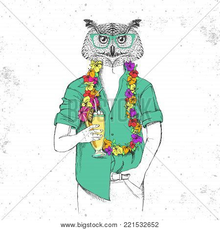 Retro Hipster bird owl with tropic cocktail
