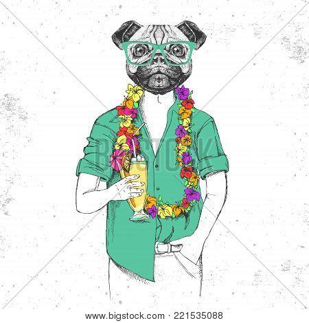Retro Hipster animal pug-dog with tropic cocktail