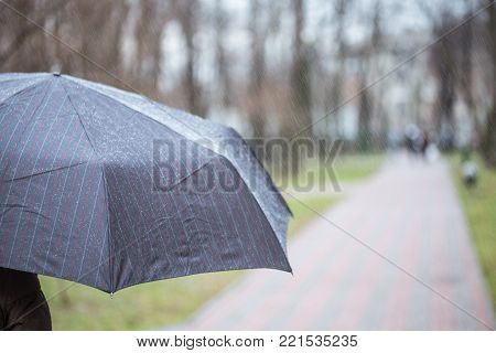 Person walking under dark striped wet umbrella  in a city park during rain at autumn or spring. Weather forecast conept. Bad mood.
