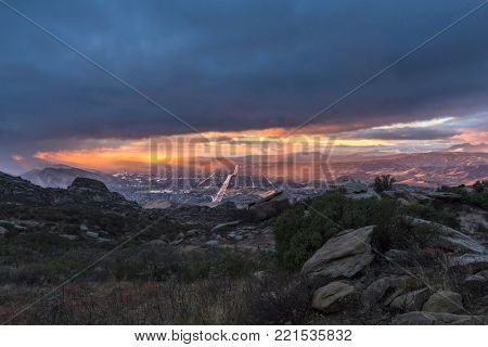 Winter storm clearing out above Simi Valley near Los Angeles, California.  View from Rocky Peak Park in the Santa Susana Mountains.
