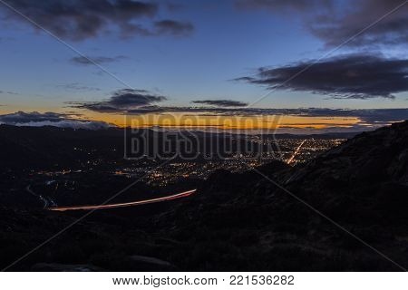 Clearing storm sky after sunset in Simi Valley near Los Angeles, California.