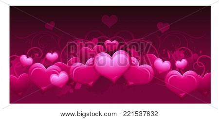 Panoramic horizontal pink abstract Valentines day background design