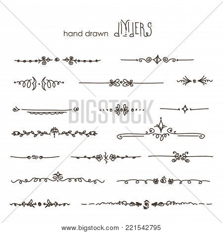 Hand drawn vector dividers, line border set and design element, vector on white background