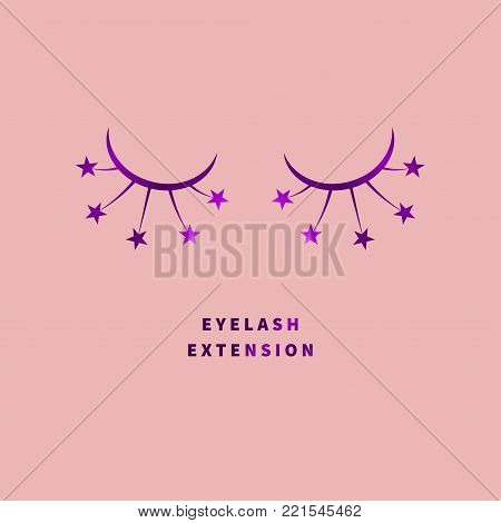 Icon lashes. Logo eyelash extension. Vector illustration