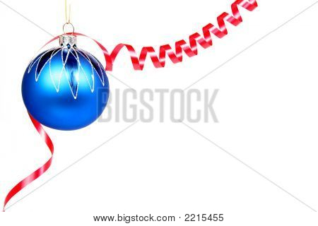 Celebratory Glass Sphere Of Dark Blue Color And Red Tinsel