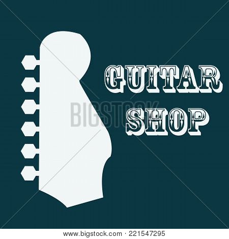 Guitar shop. White Guitar on a Green Background.