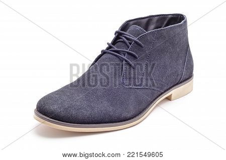 dark blue suede shoe studio isolated on white
