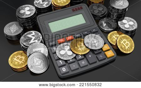 Cryptocurrencies coins laying down on the calculator. Calculating numbers for income tax. 3D rendering