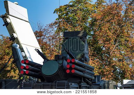 ROSTOV-ON-DON, RUSSIA - AUGUST, 2017: Pantsir-S1 or Greyhound is a combined short to medium range surface-to-air missile and anti-aircraft artillery weapon system during military show in Rostov-on-Don