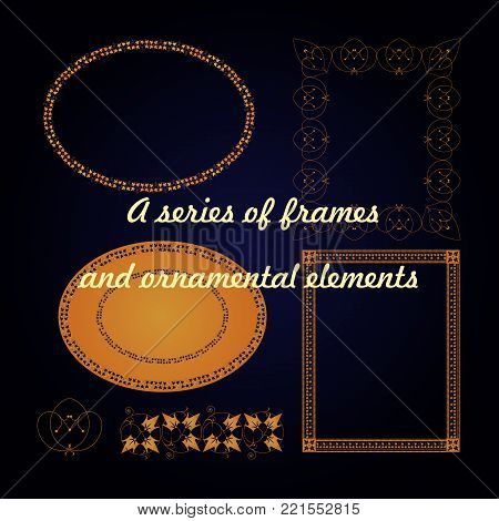 A series of frames and ornamental elements. Vector illustration