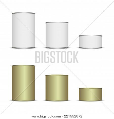Set of Tins for your design and logo. white color. easy to change any color.