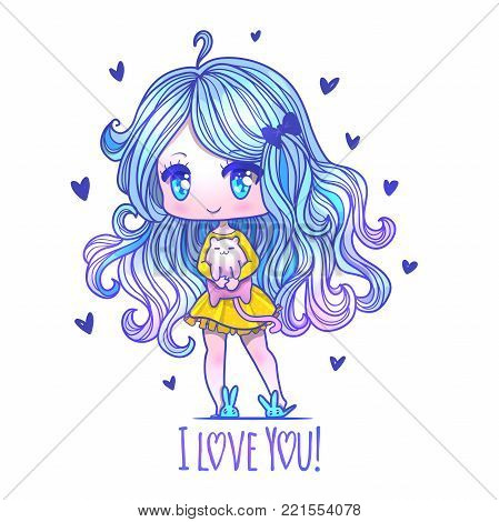 Cute vector illustration. Kawaii Anime girl. Big eyes. Use for postcards, print on clothes or other things. anner decorations. Happy valentine s day