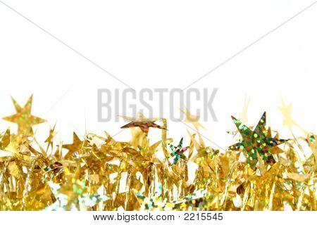 Celebratory Tinsel Of Golden Color With Christmas Stars 2