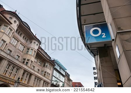 MUNICH, GERMANY - DECEMBER 18, 2017: O2 logo on their Munich main shop. O2 is one of the main phone carriers and internet service providers in Germany
